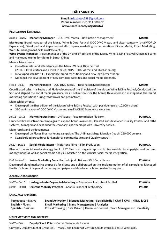 cv for marketing internship
