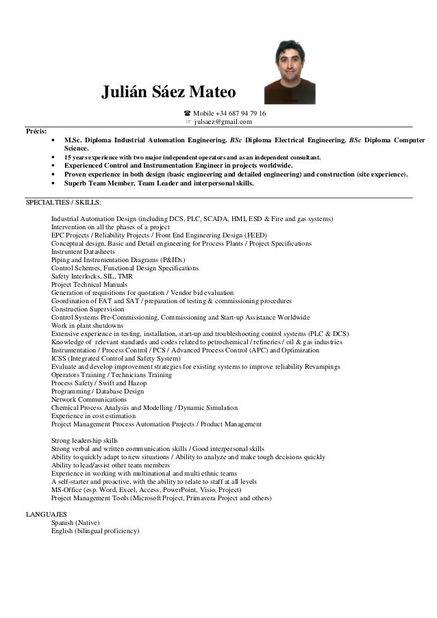 Industrial automation engineer resume
