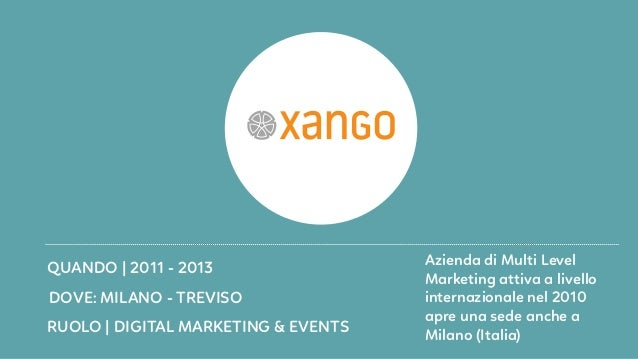 RUOLO   DIGITAL MARKETING & EVENTS DOVE: MILANO - TREVISO QUANDO   2011 - 2013 Azienda di Multi Level Marketing attiva a l...