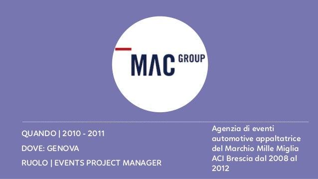 RUOLO   EVENTS PROJECT MANAGER DOVE: GENOVA QUANDO   2010 - 2011 Agenzia di eventi automotive appaltatrice del Marchio Mil...