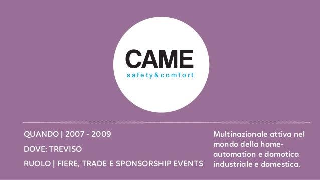 RUOLO   FIERE, TRADE E SPONSORSHIP EVENTS DOVE: TREVISO QUANDO   2007 - 2009 Multinazionale attiva nel mondo della home- a...