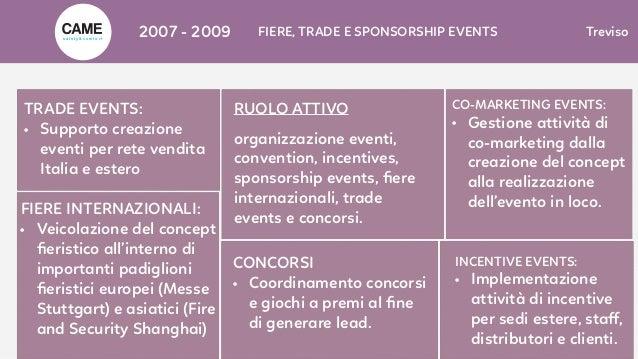 2007 - 2009 FIERE, TRADE E SPONSORSHIP EVENTS Treviso RUOLO ATTIVO organizzazione eventi, convention, incentives, sponsors...