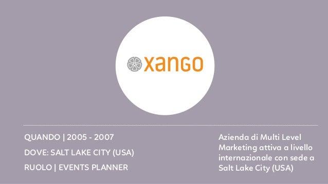 RUOLO   EVENTS PLANNER DOVE: SALT LAKE CITY (USA) QUANDO   2005 - 2007 Azienda di Multi Level Marketing attiva a livello i...