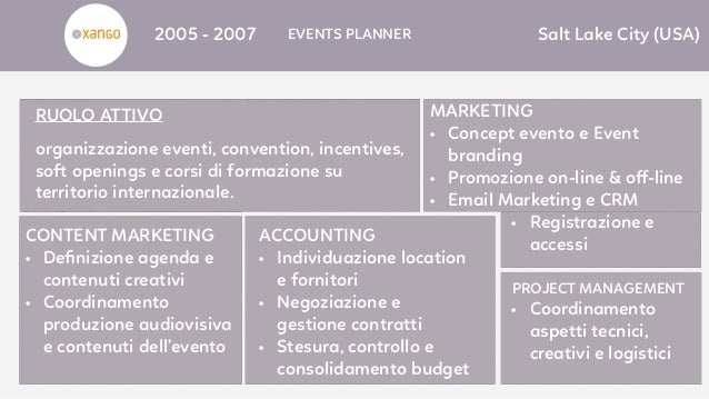 2005 - 2007 EVENTS PLANNER Salt Lake City (USA) MARKETING • Concept evento e Event branding • Promozione on-line & off-line...