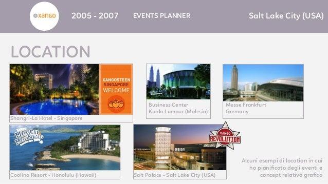 2005 - 2007 EVENTS PLANNER Salt Lake City (USA) LOCATION Coolina Resort - Honolulu (Hawaii) Salt Palace - Salt Lake City (...