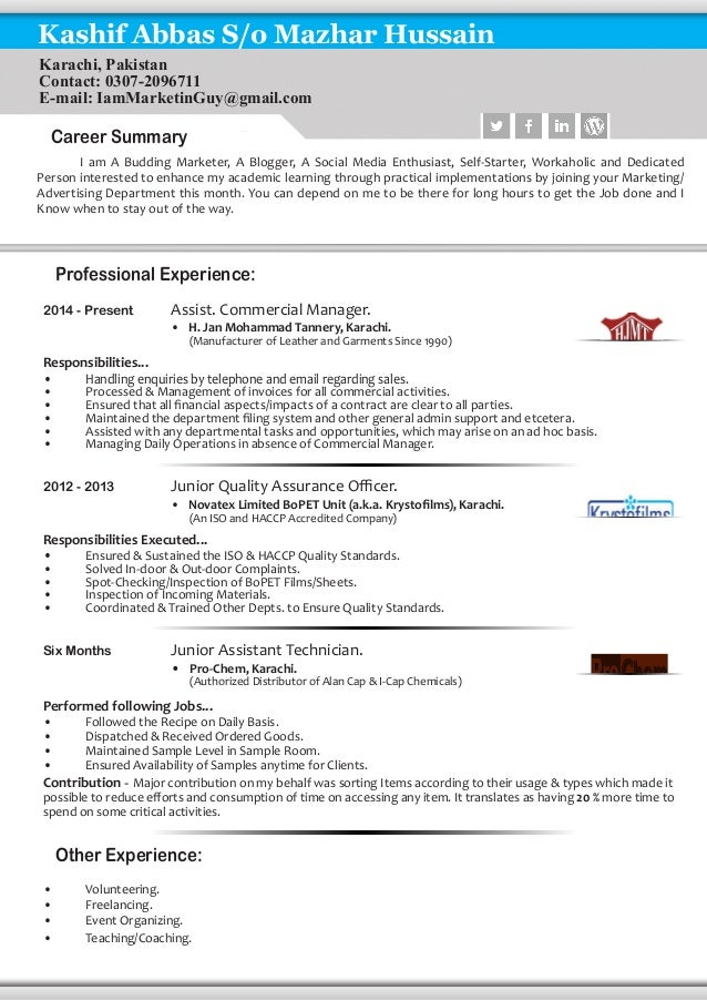 Creative Resume Writing. Professional Experience: 2014   Present Assist.  Commercial Manager.