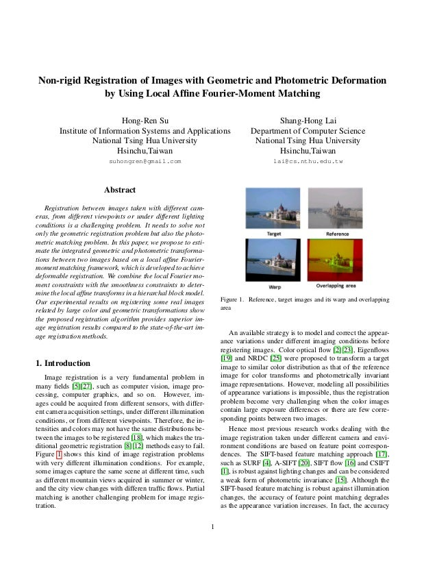 Non-rigid Registration of Images with Geometric and Photometric Deformation by Using Local Affine Fourier-Moment Matching H...