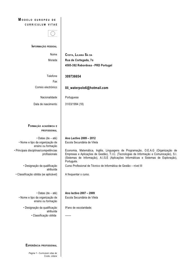 MODELO          EUROPEU DE         CURRICULUM VITAE                INFORMAÇÃO PESSOAL                                    N...
