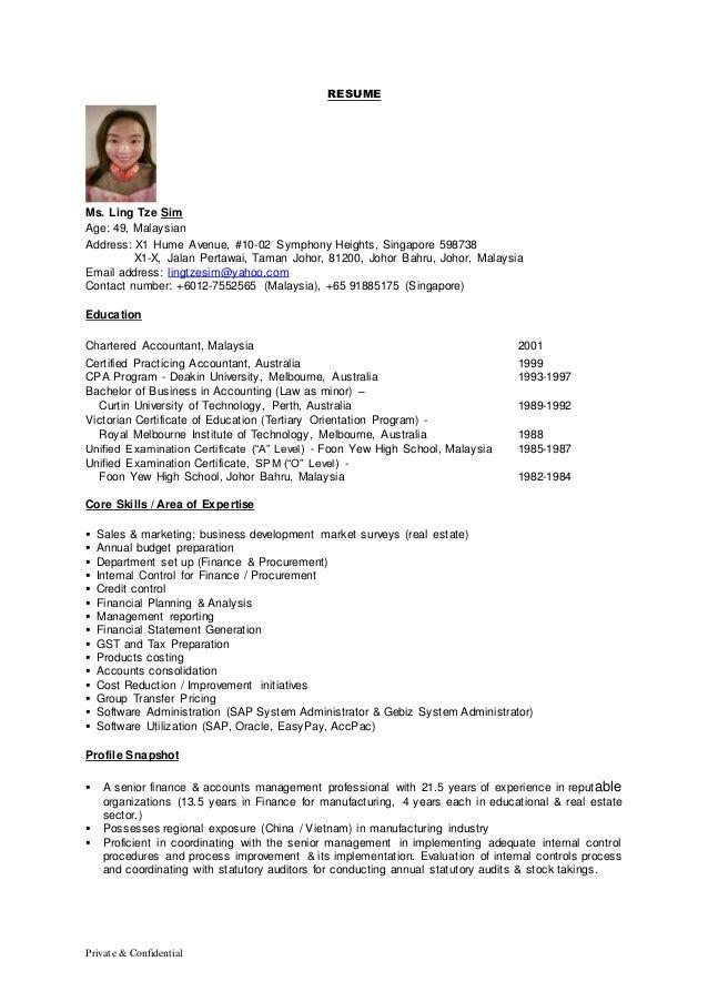 Cv Vs Resume Malaysia.Cv Ling Tze Sim Achievements In Finance Accounting Admin