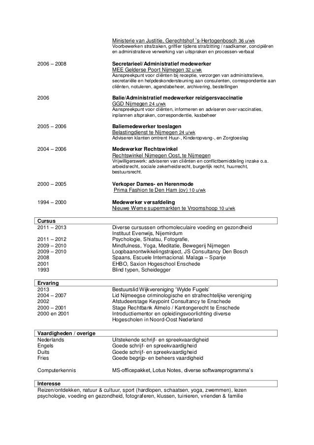 Curriculum vitae kinderopvang   Verzorgende/zorgkundige (m/v