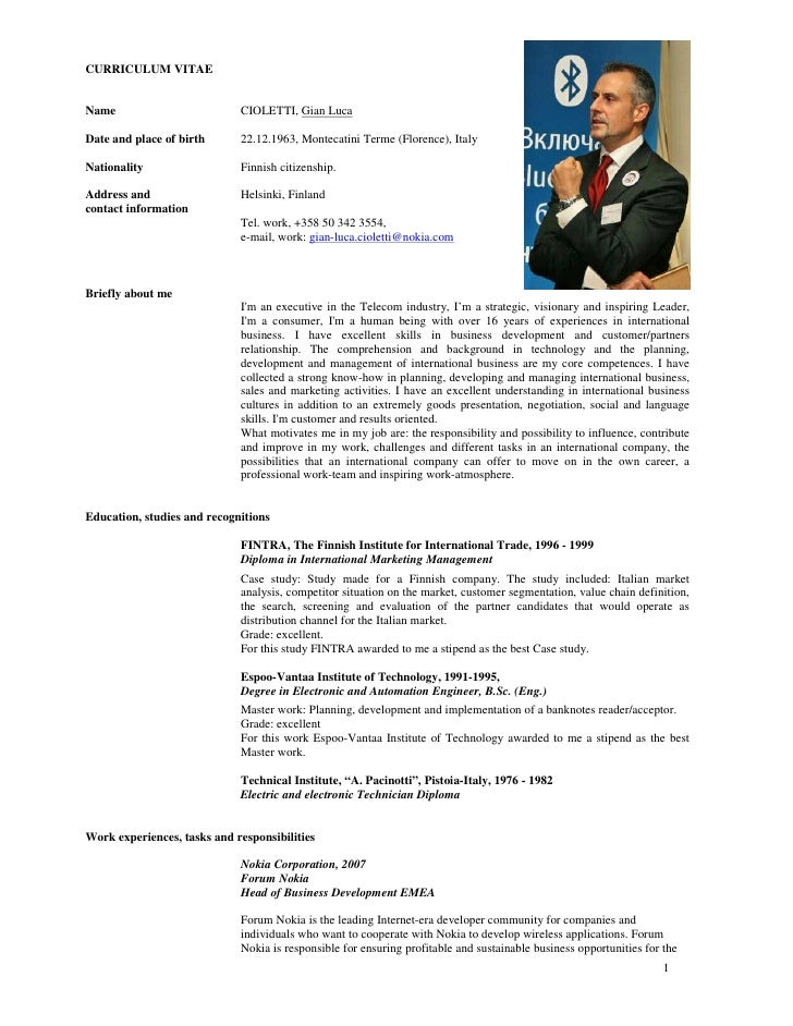 CURRICULUM VITAE   Name                         CIOLETTI, Gian Luca  Date and place of birth      22.12.1963, Montecatini ...