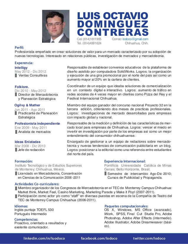 Currículum Vitae de Octavio Domínguez