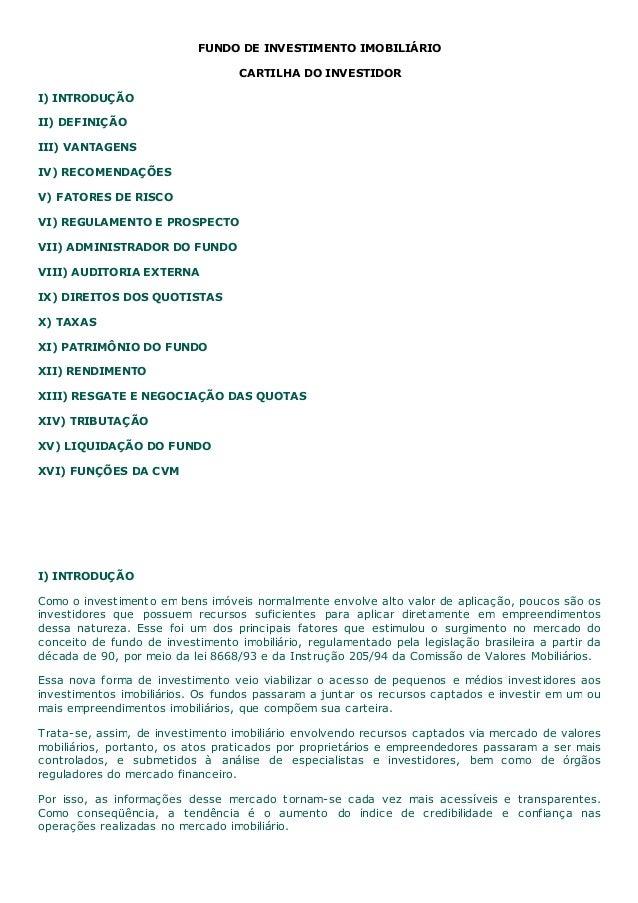 FUNDO DE INVESTIMENTO IMOBILIÁRIO                                    CARTILHA DO INVESTIDORI) INTRODUÇÃOII) DEFINIÇÃOIII) ...