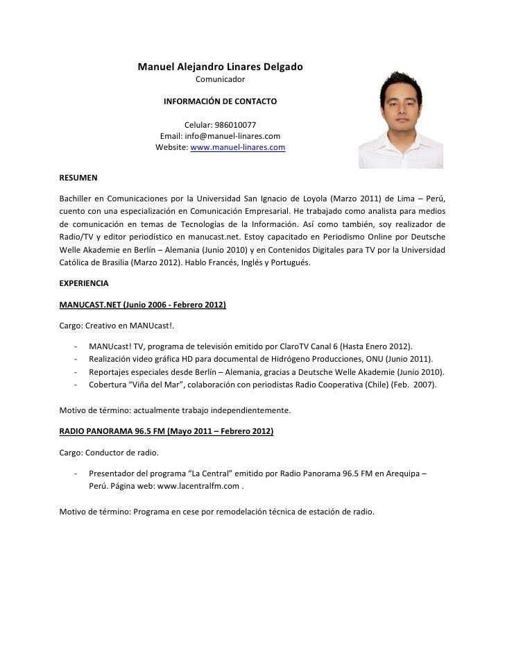Manuel Linares Curriculum Vitae 2012