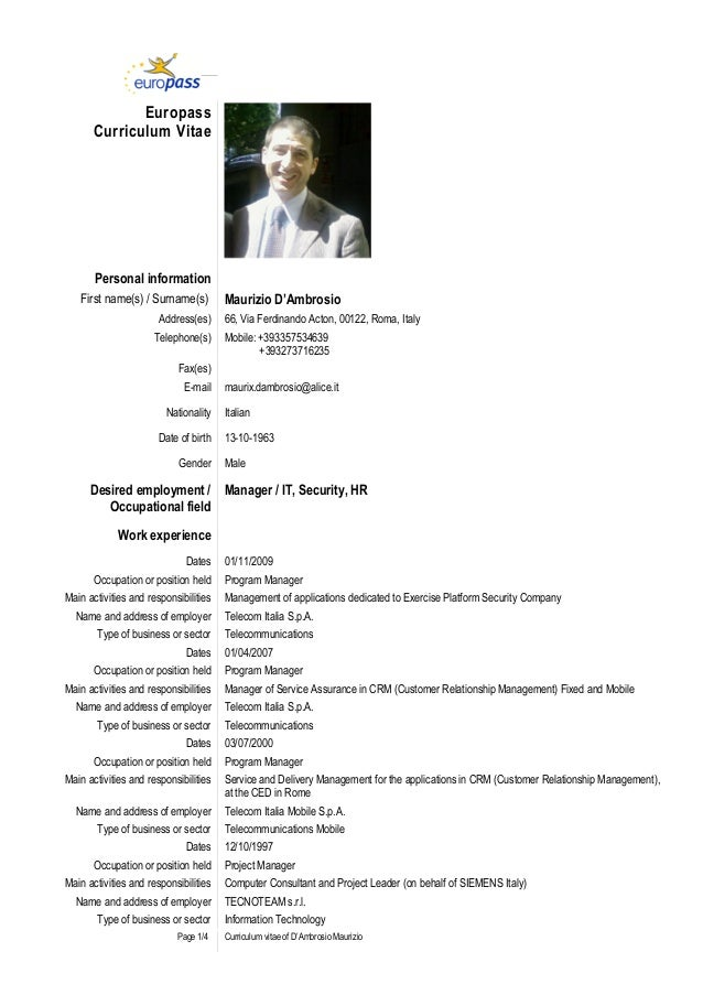 European Resume Template Elita Mydearest Co