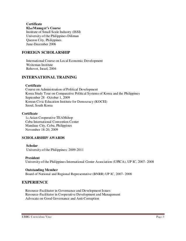 Curriculum Vitae Of Ebrg Dpa