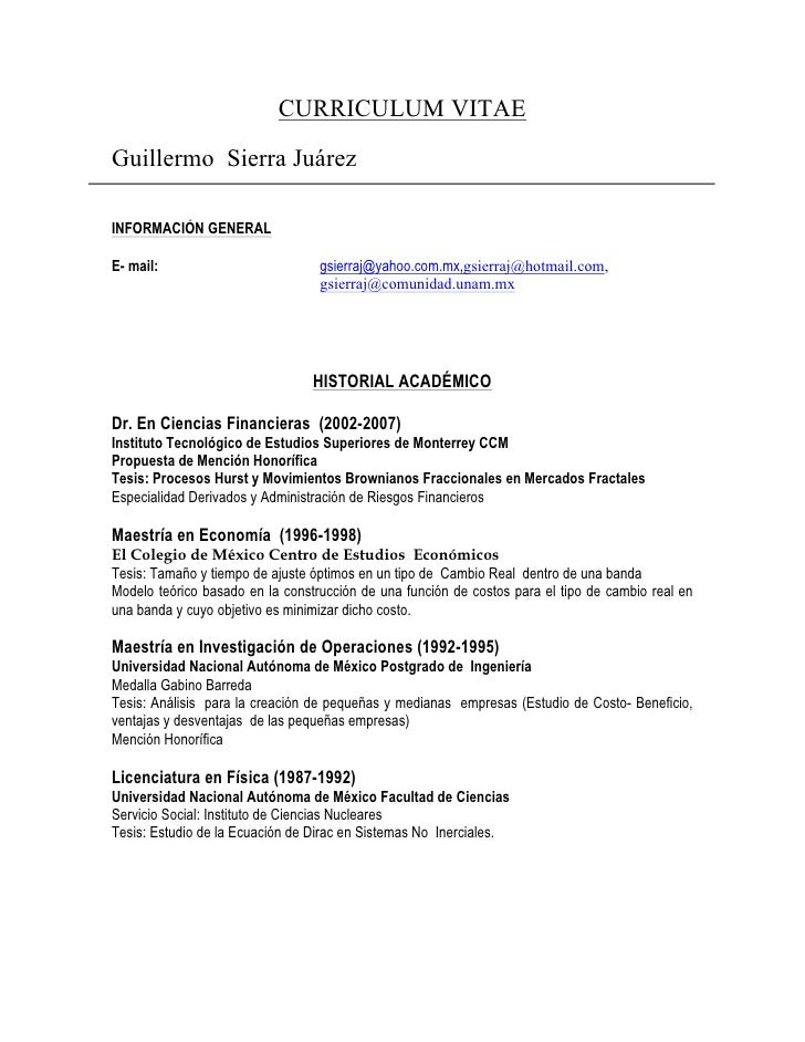 CURRICULUM VITAEGuillermo Sierra JuárezINFORMACIÓN GENERALE- mail:                          gsierraj@yahoo.com.mx,gsierraj...