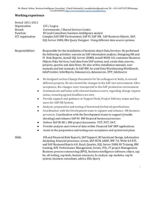 business intelligence consultant resume 1 9