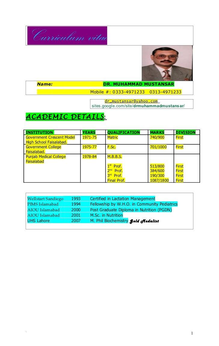 Curriculum vitae        Name:                             DR. MUHAMMAD MUSTANSAR                                   Mobile ...