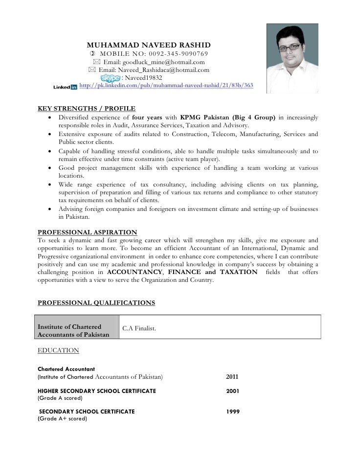 cv personal profile accountant