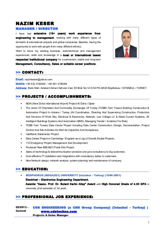 cv resume nazim keser english manager director