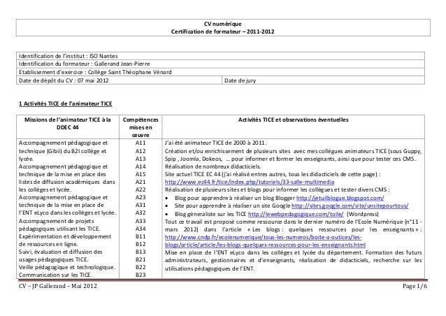 CV numérique                                                          Certification de formateur – 2011-2012Identification...