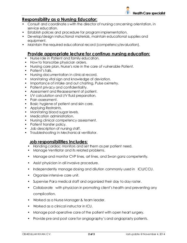 resume for nurse educator