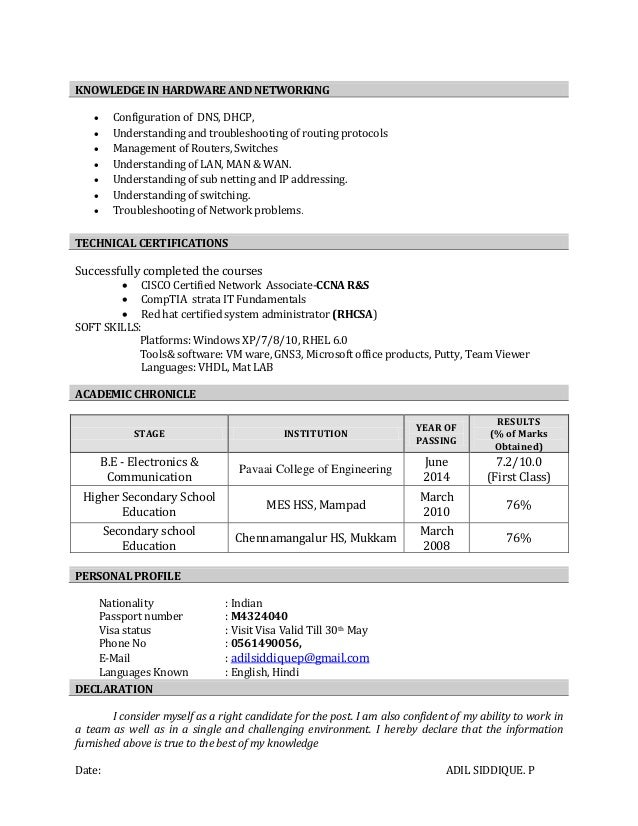 cv of adil be ece networking