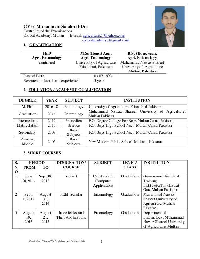 cv of controller of examination mr m  salah ud
