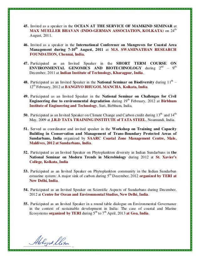Cv of dr  abhijit mitra, department of marine science