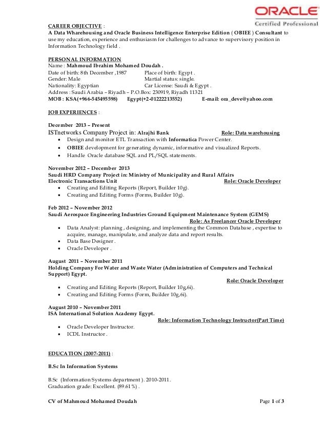 cv of mahmoud mohamed doudah dwh developer