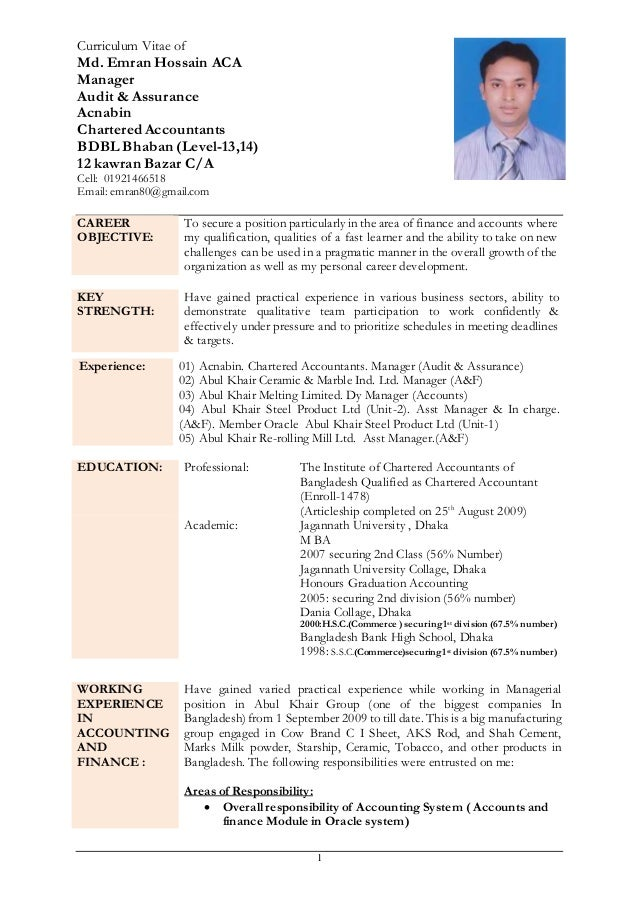 cv of md  emran hossain aca