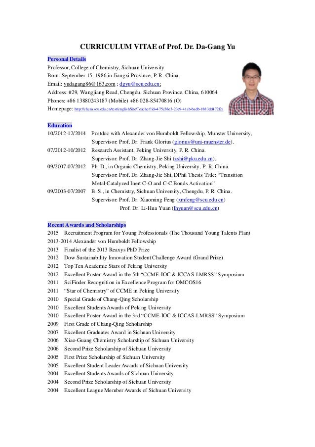 Chemistry Faculty Resume example academic cv - Gallery Image ...