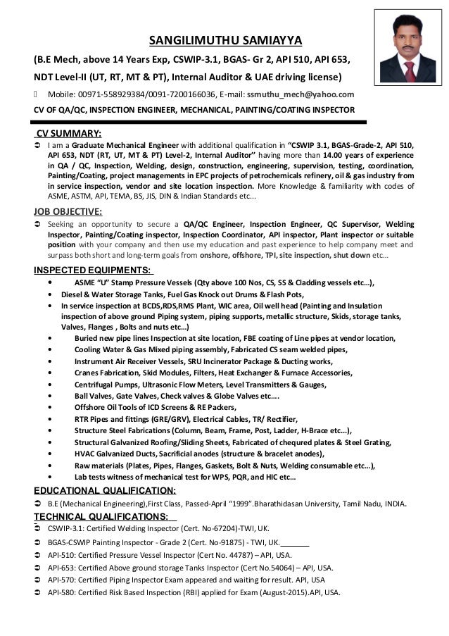 Cv of qaqc inspection engineer welding painting for Painting coating inspector jobs