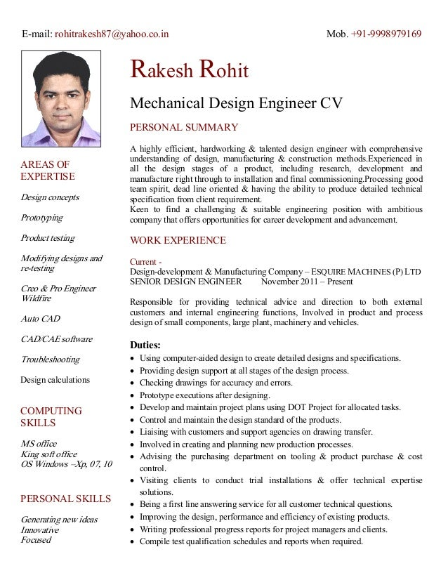 cv of mechanical design engineer e mail rohitrakesh87yahoocoin mob - Mechanical Design Engineer Resume