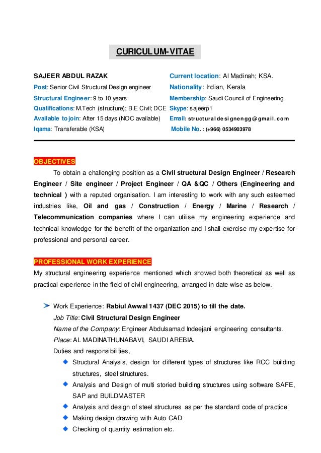 cv of civil structural design engineer