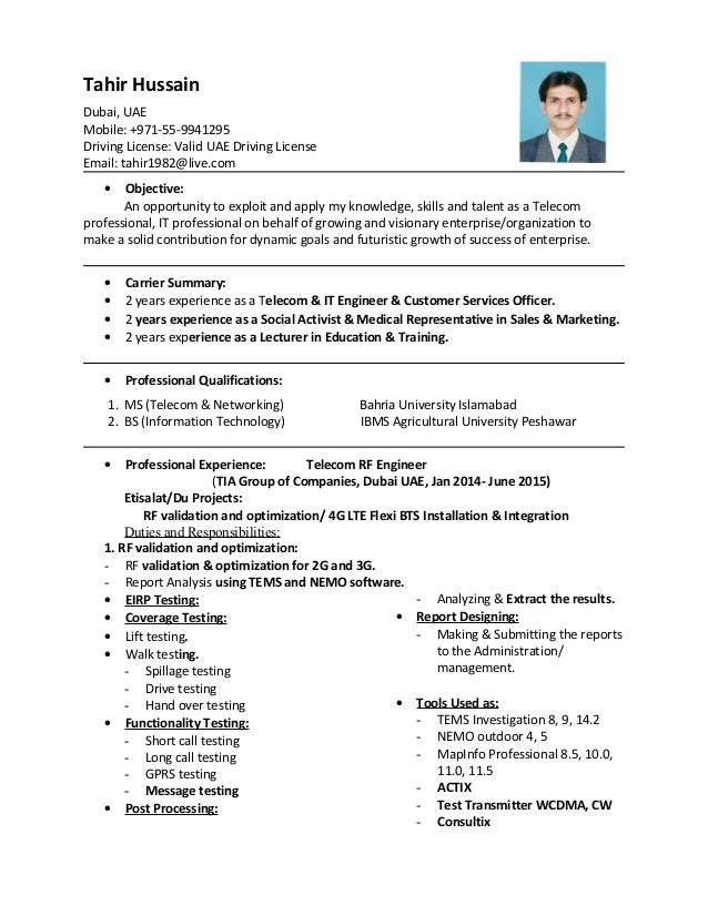 Cv Of Tahir Hussain With Master Degree Amp Experience