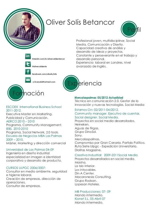Cv Oliver Solis Betancor Social Media Strategy Comunicacion Redes
