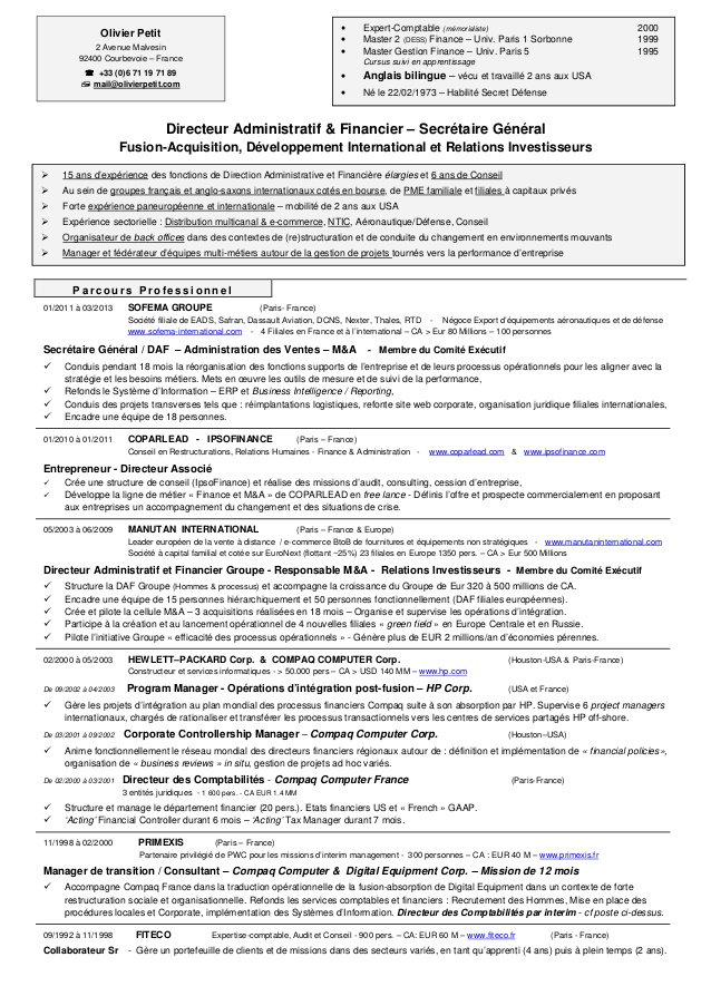 Connu Cv olivier petit resume carriere PY99