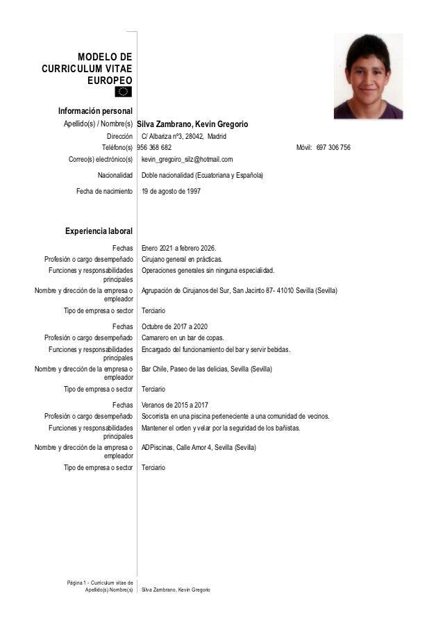 curriculum vitae ejemplos peru