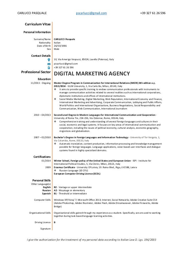 cv pasquale carlucci digital marketing web agency