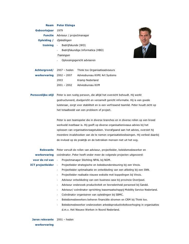 cv projectleider CV Peter Elzinga
