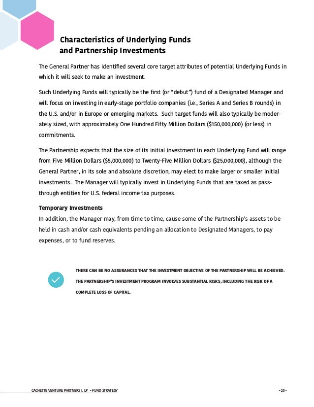 CACHETTE VENTURE PARTNERS I, LP - FUND STRATEGY - 23 - Characteristics of Underlying Funds and Partnership Investments The...