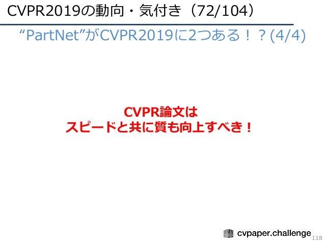"CVPR2019の動向・気付き(72/104) 118 • ""PartNet""がCVPR2019に2つある!?(4/4) CVPR論⽂は スピードと共に質も向上すべき!"