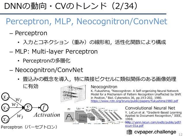 DNNの動向・CVのトレンド(2/34) 12 • Perceptron, MLP, Neocognitron/ConvNet – Perceptron • ⼊⼒とコネクション(重み)の線形和,活性化関数により構成 – MLP: Multi-l...
