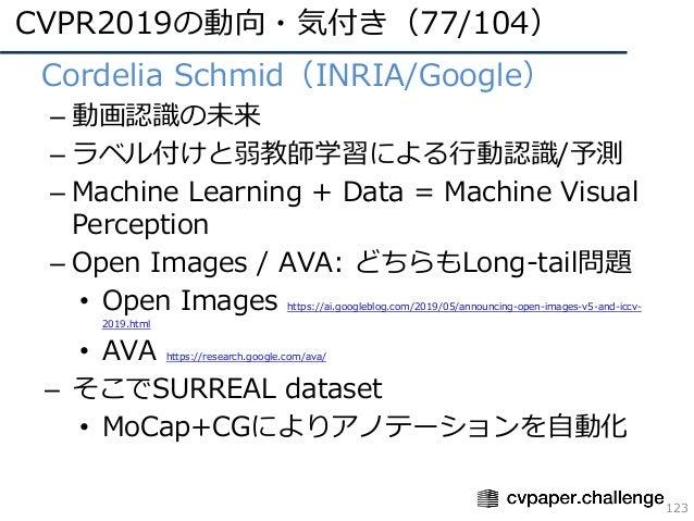 CVPR2019の動向・気付き(77/104) 123 • Cordelia Schmid(INRIA/Google) – 動画認識の未来 – ラベル付けと弱教師学習による⾏動認識/予測 – Machine Learning + Data = ...