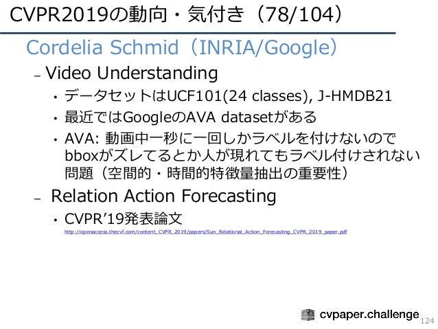 CVPR2019の動向・気付き(78/104) 124 • Cordelia Schmid(INRIA/Google) – Video Understanding • データセットはUCF101(24 classes), J-HMDB21 • ...