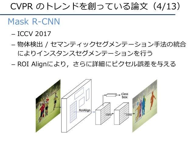 • Mask R-CNN – ICCV 2017 – 物体検出 / セマンティックセグメンテーション⼿法の統合 によりインスタンスセグメンテーションを⾏う – ROI Alignにより,さらに詳細にピクセル誤差を与える CVPR のトレンドを創...