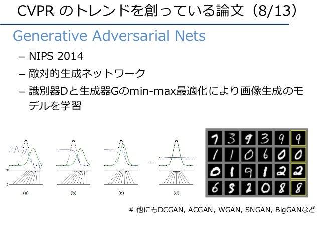 • Generative Adversarial Nets – NIPS 2014 – 敵対的⽣成ネットワーク – 識別器Dと⽣成器Gのmin-max最適化により画像⽣成のモ デルを学習 CVPR のトレンドを創っている論⽂(8/13) # 他...