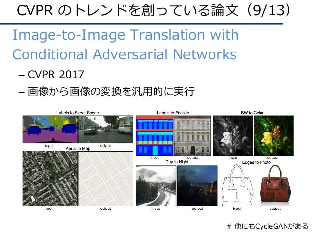 • Image-to-Image Translation with Conditional Adversarial Networks – CVPR 2017 – 画像から画像の変換を汎⽤的に実⾏ CVPR のトレンドを創っている論⽂(9/13)...
